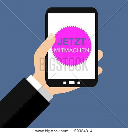 Hand holding Smartphone: Contribute now in german language - Flat Design