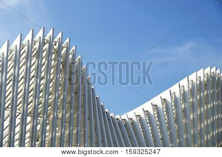 Metal Framework Of The Roof Industrial Premises In The Enterprise Outside View