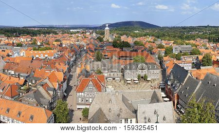 aerial view of historic town Goslar in Germany