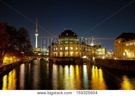 Bode Museum and TV-Tower at night. Berlin Germany - 29.11.2016.