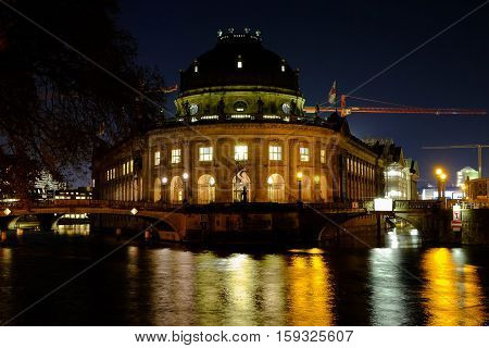 Bode Museum at night. Berlin Germany - 29.11.2016.