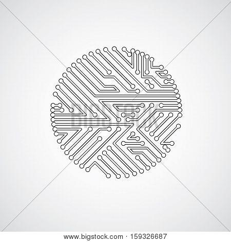 Vector Abstract Technology Illustration With Round Monochrome Circuit Board. High Tech Circular Digi