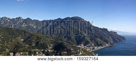 Panoramic scene of Amalfi coast viewed from Ravello