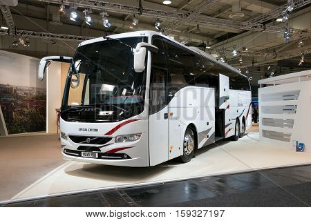 HANNOVER GERMANY - SEP 21 2016: Volvo 9900 coach bus at the International Motor Show for Commercial Vehicles.