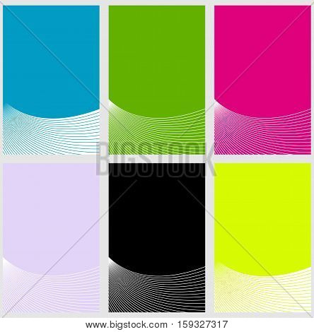 Six colorful background templates with thin stripes