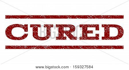 Cured watermark stamp. Text tag between horizontal parallel lines with grunge design style. Rubber seal dark red stamp with dust texture. Vector ink imprint on a white background.