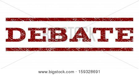 Debate watermark stamp. Text tag between horizontal parallel lines with grunge design style. Rubber seal dark red stamp with unclean texture. Vector ink imprint on a white background.