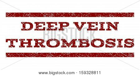 Deep Vein Thrombosis watermark stamp. Text tag between horizontal parallel lines with grunge design style. Rubber seal dark red stamp with dust texture. Vector ink imprint on a white background.