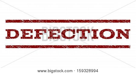 Defection watermark stamp. Text tag between horizontal parallel lines with grunge design style. Rubber seal dark red stamp with dust texture. Vector ink imprint on a white background.