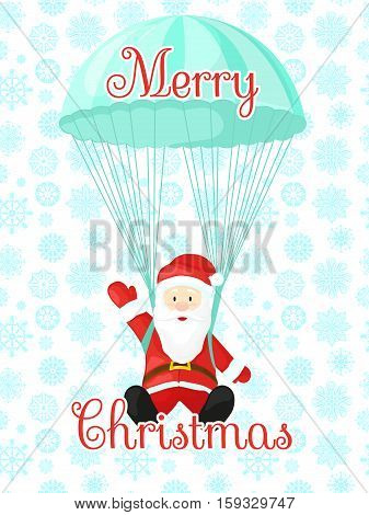 Santa Claus with a parachute. Vector illustration in cartoon style