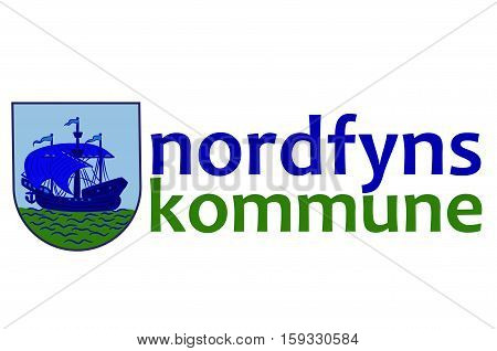 Flag of Nordfyn is a municipality in Region Hovedstaden of Denmark. Vector illustration