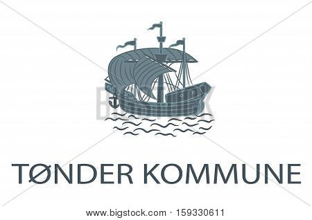 Flag of Toender is a municipality in Region Hovedstaden of Denmark. Vector illustration