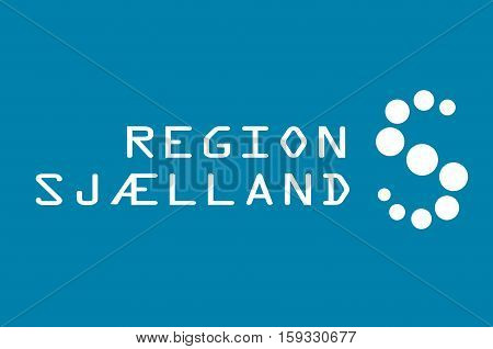 Flag of Zealand Region is the southernmost administrative region of Denmark. Vector illustration