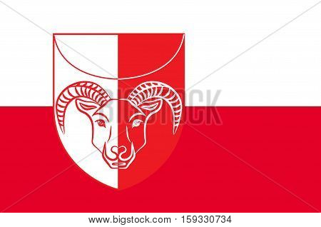 Flag of Kujalleq is a new municipality in the southern tip of Greenland of Denmark Kingdom. Vector illustration