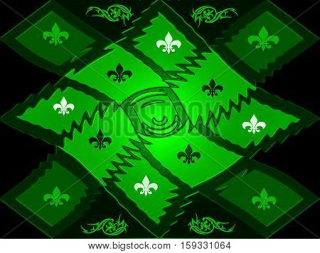 Green texture style lattice chessboard with beautiful inlays of signs and patterns