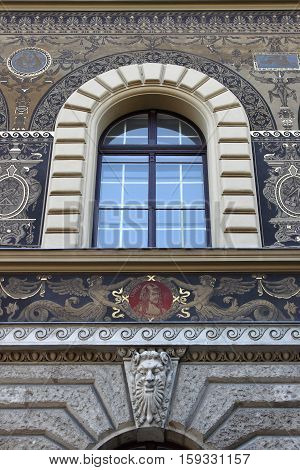Renaissance window in Andrassy Avenue of Budapest Hungary