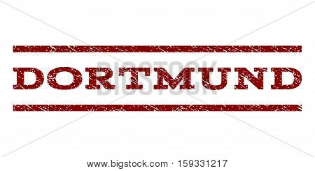 Dortmund watermark stamp. Text tag between horizontal parallel lines with grunge design style. Rubber seal dark red stamp with dust texture. Vector ink imprint on a white background.