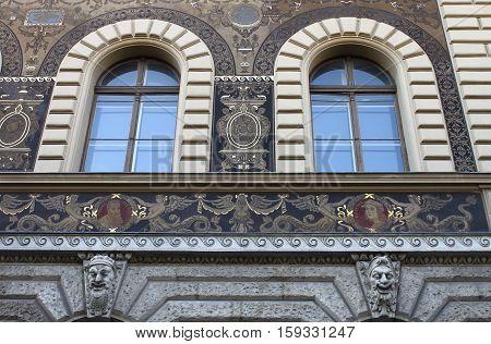 Renaissance windows in Andrassy Avenue of Budapest, Hungary