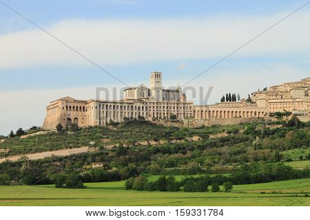 Landscape view of Saint Francis Cathedral in Assisi, Italy
