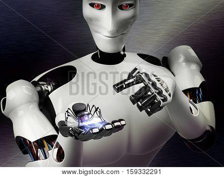 cyber spider in robot hand - 3D rendering
