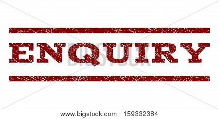 Enquiry watermark stamp. Text caption between horizontal parallel lines with grunge design style. Rubber seal dark red stamp with dirty texture. Vector ink imprint on a white background.
