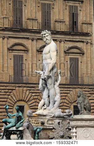 Fountain of Neptune in Signoria Square of Florence, Italy