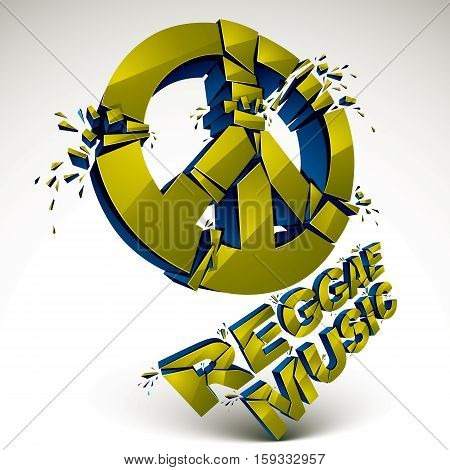 Green 3D Vector Peace Sign Created From Refractions Isolated On White. Three-dimensional Transform D