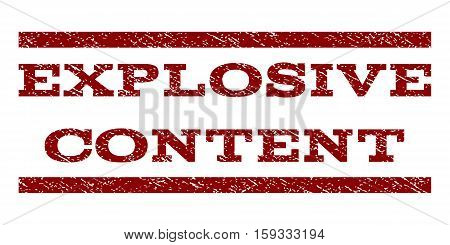 Explosive Content watermark stamp. Text tag between horizontal parallel lines with grunge design style. Rubber seal dark red stamp with scratched texture. Vector ink imprint on a white background.