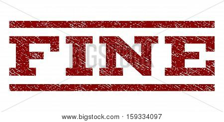 Fine watermark stamp. Text caption between horizontal parallel lines with grunge design style. Rubber seal dark red stamp with dirty texture. Vector ink imprint on a white background.