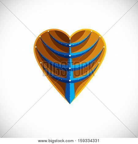 Tree Leaf Made In The Shape Of Heart, Botanical Element Created In Modern Cubism Style. Care About N