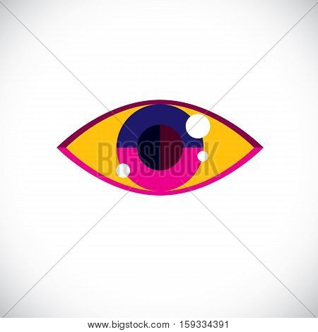 Art Modern Illustration Of Human Eye, Part Of Personality Face, Symbolic Graphic Element Can Be Used