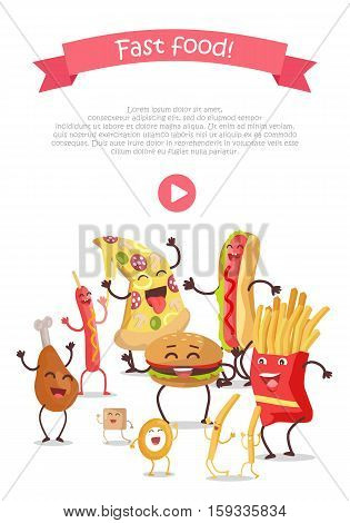 Funny food story conceptual banner web site design with play button. Sausage pizza donut bacon chicken hamburger fries sugar potatoes eggs. Happy meal for children. Childish menu poster. Vector