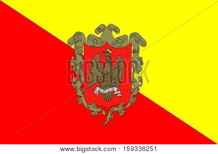 Flag of Palermo is a city in Insular Italy the capital of both the autonomous region of Sicily and the Metropolitan City of Palermo. Vector illustration