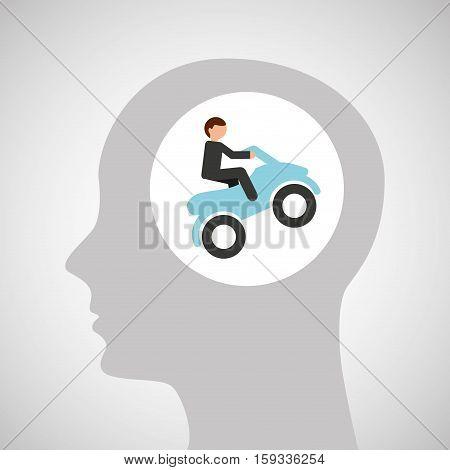 head silhouette atv rider extreme sport vector illustration eps 10