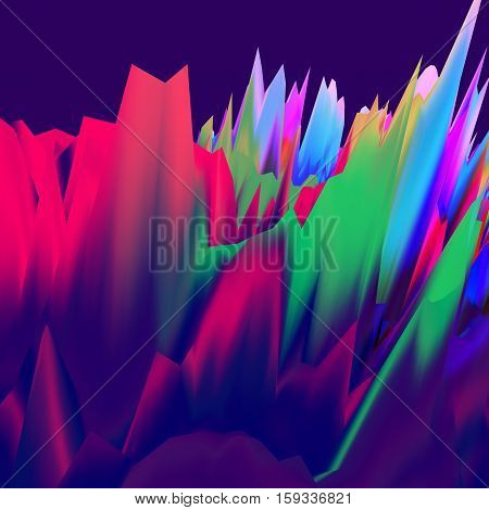 Background of glitch manipulations. Abstract landscape with sharp peaks inred and purple shades. It can be used for web design and visualization of music.