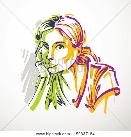 Vector Illustration Of Young Elegant Female, Art Image. Colorful Portrait Of Attractive Lady, Face F