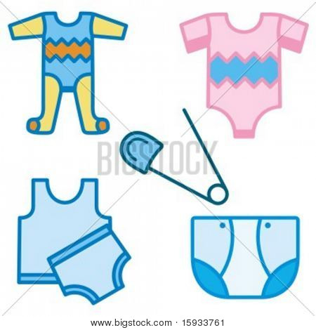Baby icons series. Baby clothing. Check my portfolio for much more of this series as well as thousands of similar and other great vector items.