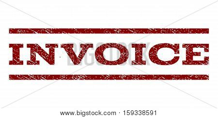 Invoice watermark stamp. Text tag between horizontal parallel lines with grunge design style. Rubber seal dark red stamp with dirty texture. Vector ink imprint on a white background.
