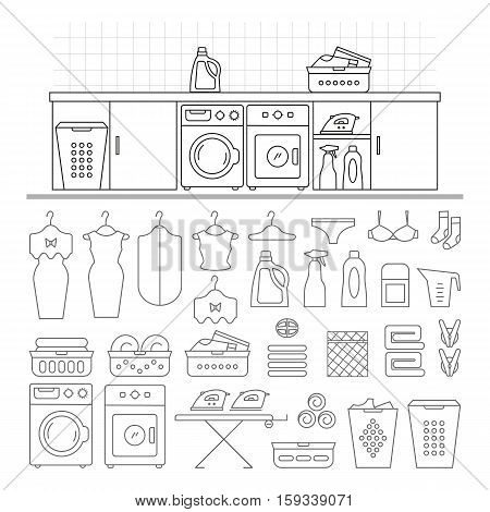 Elements for laundry interior, and a large set of laundry icons. Laundry room interior vector. Laundry room interior element isolated.