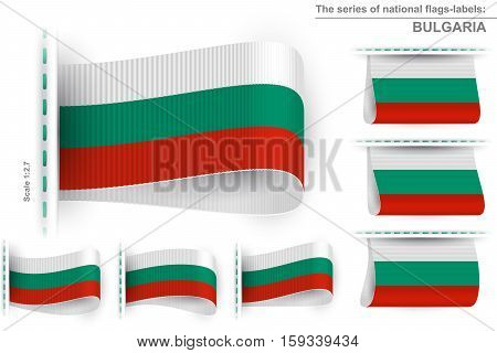 National state flag of Bulgaria; Sewn clothing label tag; Vector icon set Republic of Bulgaria flags Eps10