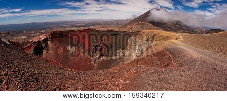 The Tongariro Alpine Crossing trek around Red Crater in New Zealand