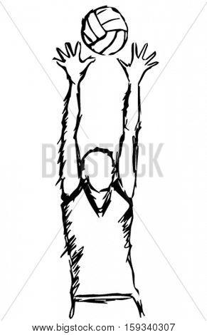 sketch volleyball player