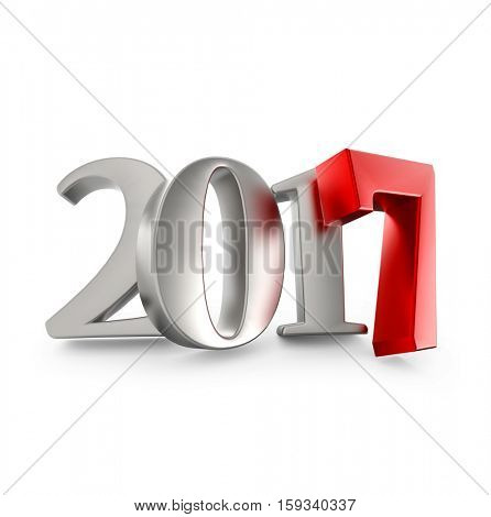 New 2017 year silver figures with red seven one isolated on white background. 3D rendering.