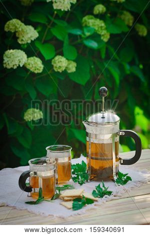 Cup of tea with mint, on table, on green background, vertical.