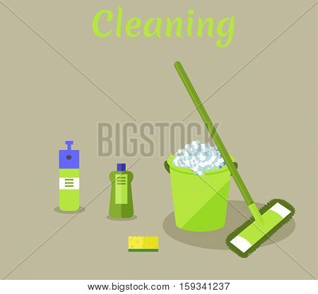 Tools for housekeeping: a green bucket with soapy foam, MOP with handle and cloth, bottle of detergent with a blue cover, spray and yellow sponge. Vector illustration. Cleaning