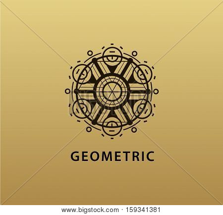 Vector abstract geometric symbol. Linear alchemy, occult, philosophical sign. For poster, flyer, logo design. Astrology, imagination creativity superstition religion concept Golden background