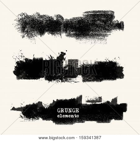Vector set of black brush strokes. Grunge isolated elements. Smoke brushes for your design. Freehand. Ink splash. Acrylic stamp. Vector illustration