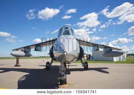 WINDSOR, CANADA - SEPT 10, 2016: Frontal view of jet aircraft in exhibit at the Windsor Aviation Museum.