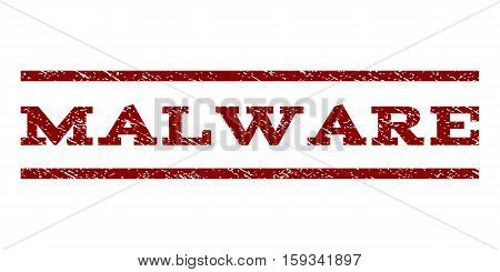 Malware watermark stamp. Text caption between horizontal parallel lines with grunge design style. Rubber seal dark red stamp with unclean texture. Vector ink imprint on a white background.