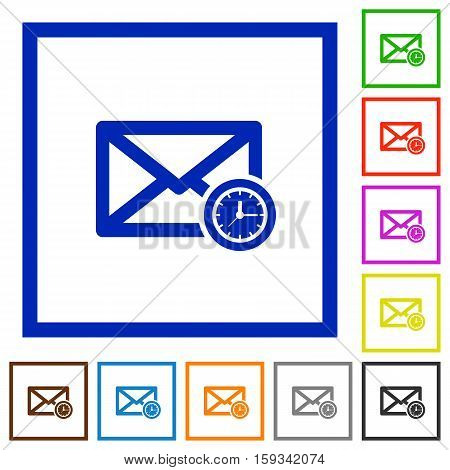 Queued mail flat color icons in square frames